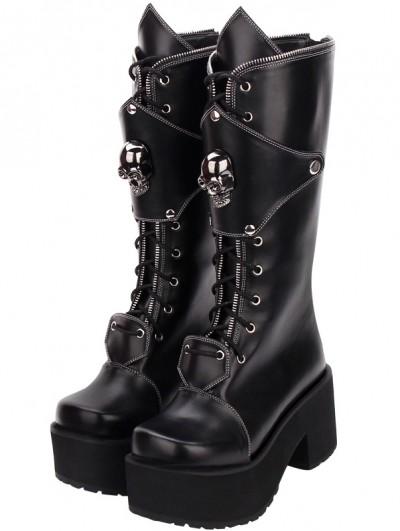 Black Gothic Punk Skull Zipper Platform Boots for Women