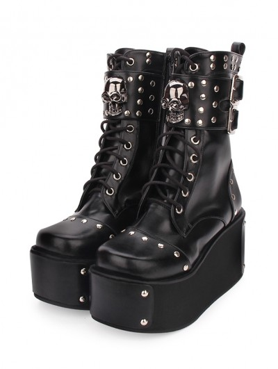 Black Gothic Punk Skull Buckle Belt Platform Boots for Women