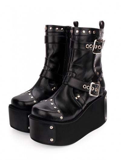 Black Gothic Punk Buckle Belt Platform Boots for Women