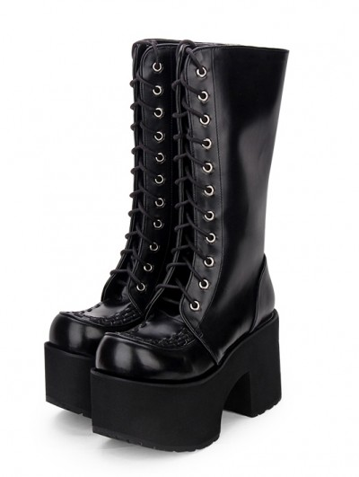 Black Gothic Lace-up Platform Boots for Women