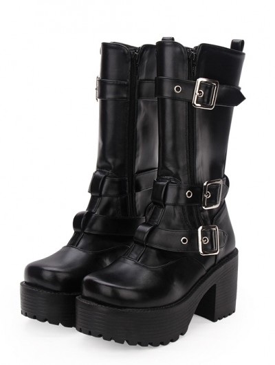 Black Gothic Buckle Belt Platform Boots for Women