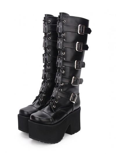 Black Gothic Punk Cross Knee Platform Boots for Women