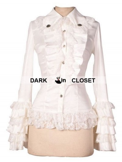 Pentagramme White Long Sleeves Ruffle Gothic Blouse for Women