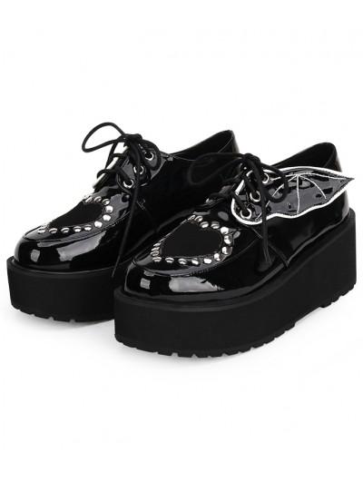 Black Gothic Bat Platform Shoes for Women
