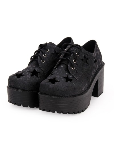 Black Gothic Lolita Star Platform Shoes for Women