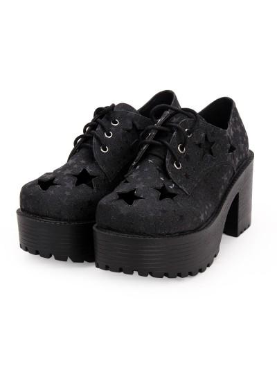Black Gothic Lolita Star Platform Shoes for Women