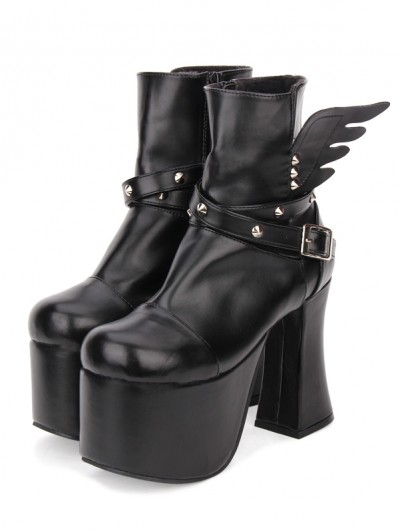 Black Gothic Punk Rivet Wing Platform Boots