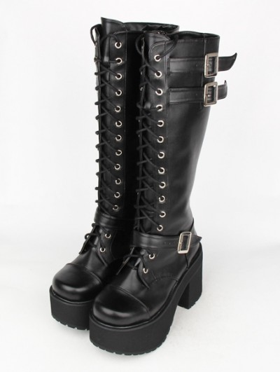 Black Gothic Punk Lace Up Belt High Heel Knee Boots