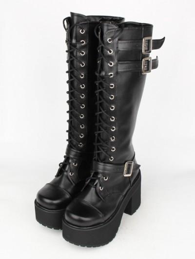 Black Gothic Punk Lace Up Belt High Heel Knee Boots