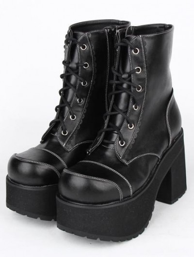 Black Gothic Lace Up Platform Chunky Heel Mid-Calf Boots