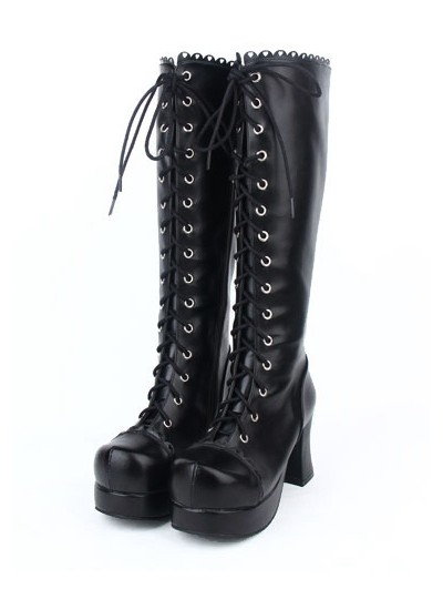Black Gothic Lace Up Chunky High Heel Knee Boots