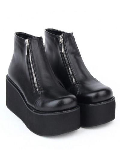 Black Gothic Zipper Platform Ankle Boots