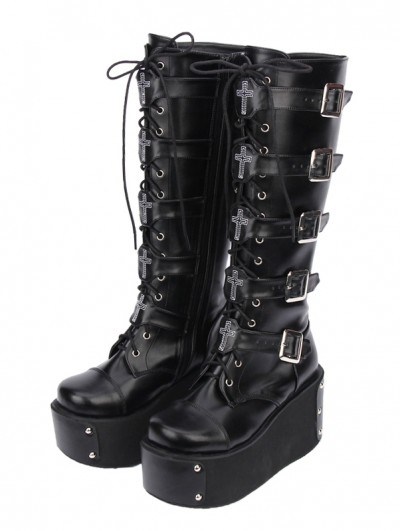 Black Gothic Punk Lace Up Cross Belt Platform Knee Boots