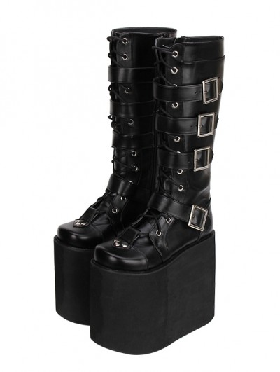 Black Gothic Punk Lace Up Belt Platform Knee Boots
