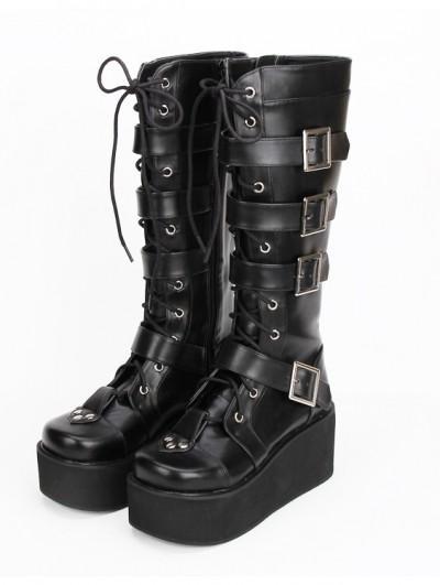 Black Gothic Punk Lace Up Belt Platform Knee Boots