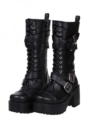 Black Gothic Punk Buckle Belt Lace-up Chunky Heel Boots