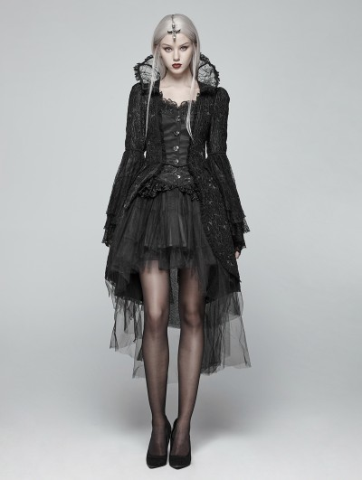 Punk Rave Black Retro Masquerade Gothic Coat for Women