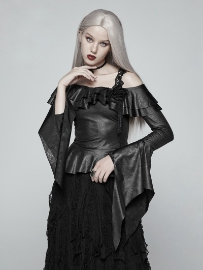 Punk Rave Black Gothic One-Shoulder Ruffles Shirt for Women