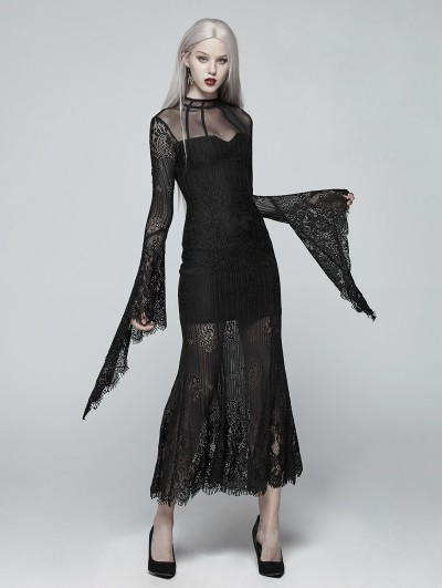 Punk Rave Black Gothic Daily Wear Lace Maxi Dress