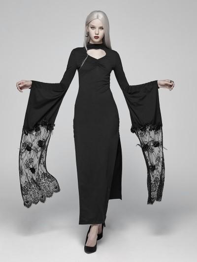 Punk Rave Black Gothic Kimono Sleeve Maxi Dress
