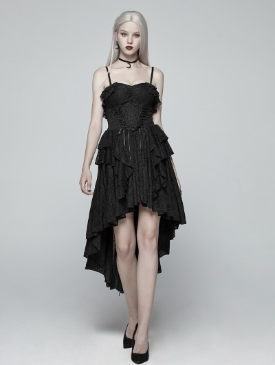 Punk Rave Black Gothic High-Low Party Dress