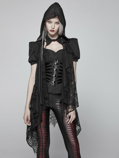 Punk Rave Black Gothic Daily Lace Vest for Women