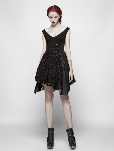 Punk Rave Black Gothic Punk Sexy Deep V Dress