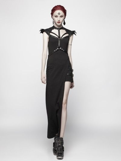 Punk Rave Black Gothic Punk Asymmetric Sexy Dress