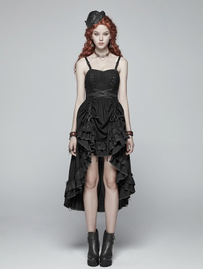 Punk Rave Black Pleated Steampunk High-Low Dress