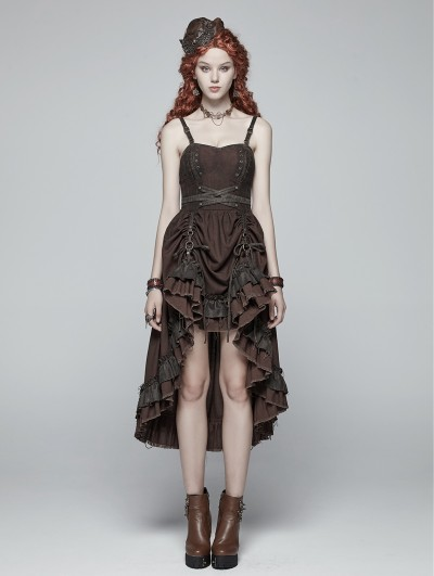 Punk Rave Brown Pleated Steampunk High-Low Dress