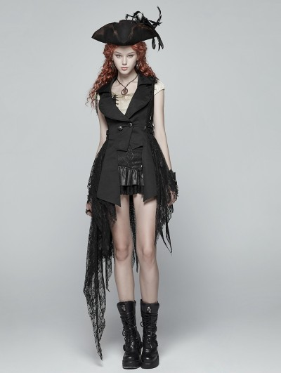 Punk Rave Black Gothic Dark Lace Asymmetric Vest for Women