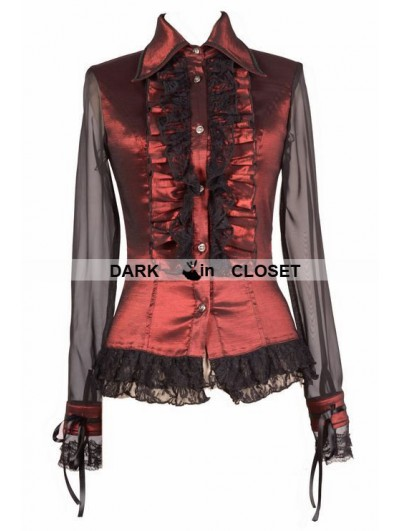 Pentagramme Wine Red Sheer Long Sleeves Ruffle Gothic Blouse for Women