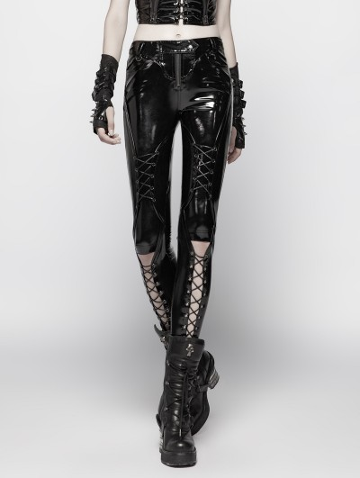 Punk Rave Black Gothic Punk Pressure Latex Trousers for Women