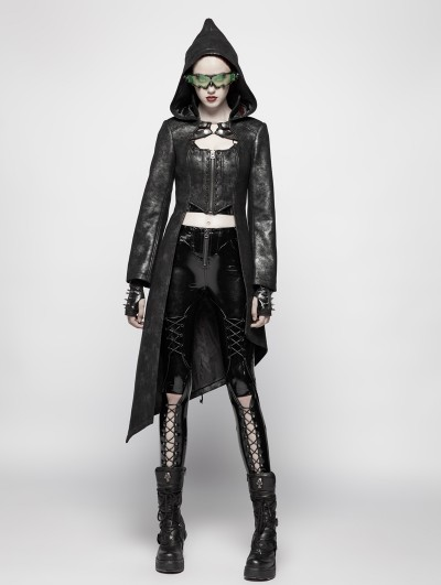 Punk Rave Black Gothic Punk Asymmetric Hem Hooed Jacket for Women