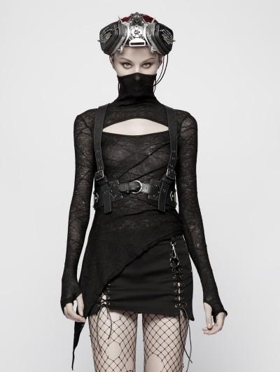 Punk Rave Black Gothic Punk PU Leather Vest Harness