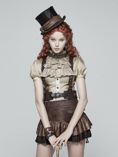 Punk Rave Brown Steam Punk PU Leather Vest Harness