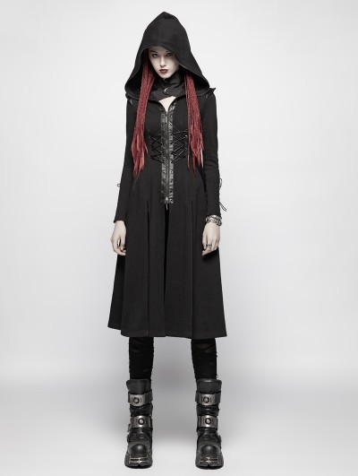 Punk Rave Black Gothic Punk Hooded Knit Jacket for Women