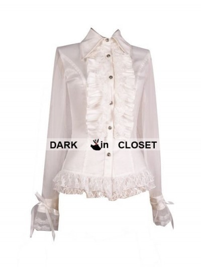 Pentagramme White Sheer Long Sleeves Ruffle Gothic Blouse for Women