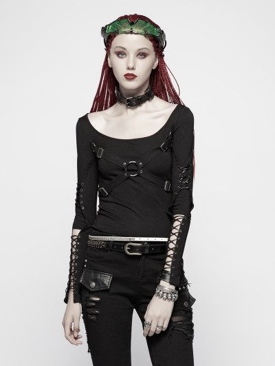 Punk Rave Black Gothic Punk Hollow-out Long Sleeve T-Shirt for Women