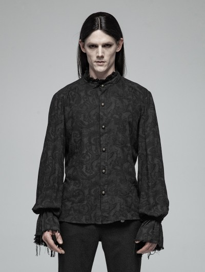 Punk Rave Black Decadent Gothic Printed Long Sleeves Shirt for Men