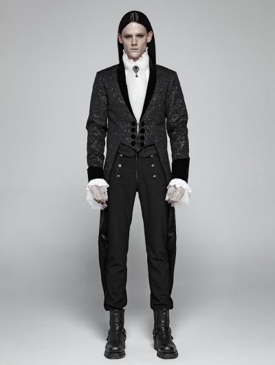 Punk Rave Black Vintage Gothic Jacquard Party Swallow Tail Coat for Men