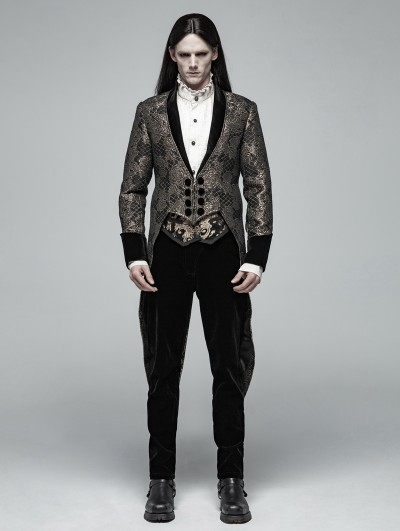 Punk Rave Gold Vintage Gothic Jacquard Party Swallow Tail Coat for Men