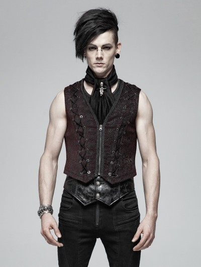 Punk Rave Black and Red Gothic Retro Vest for Men