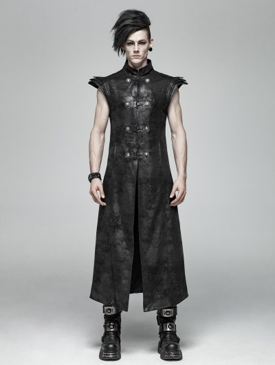 Punk Rave Black Gothic Punk Leather Armor Long Vest for Men
