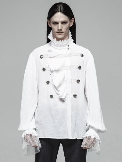 Punk Rave White Retro Gothic Lotus Leaf Loose Shirt for Men