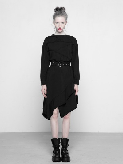 Punk Rave Black Gothic Asymmetrical Belt Dress with Hood
