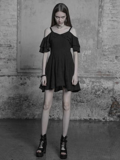 Punk Rave Black Gothic Lotus Leaf Chiffon Casual Short Dress