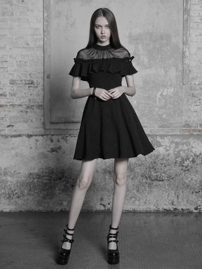 Punk Rave Black Gothic Lotus Leaf Short Sleeve Casual Dress
