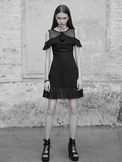 Punk Rave Black Gothic Chiffon Off-the-Shoulder Lotus Leaf Short Casual Dress