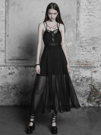 Punk Rave Black Gothic Strap Lace Chiffon Long Dress